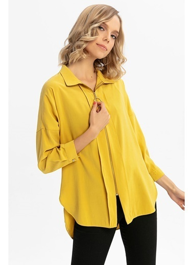 Tiffany&Tomato Fermuar Detaylı Uzun Kollu Gömlek-Sarı Sarı